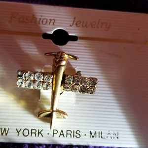 Jewelry - AIRPLANE  CRYSTAL BROOCH PIN